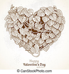 Vintage Valentine card - Heart of the climbing plant with...