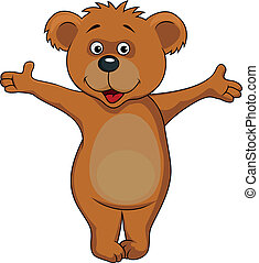 Baby bear cartoon - Vector illustration of baby bear waving...