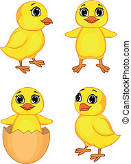 Funny chicken cartoon - Vector illustration of funny chicken...