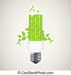 Power saving - Paper sticker of floral power saving lamp...