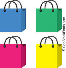 Shopping Bags - Isolated shopping bags in different colors...