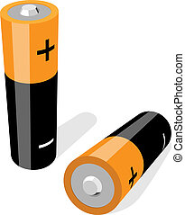 Vector illustration of two AA-size batteries isolated on...