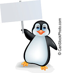 Penguin with blank sign - Vector illustration of penguin...