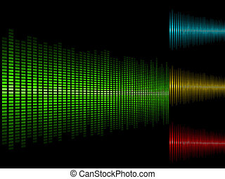 Abstract waveform vector background in four color schemes