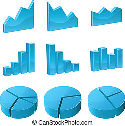 Vector set of 3D graph icons isolated on white background.