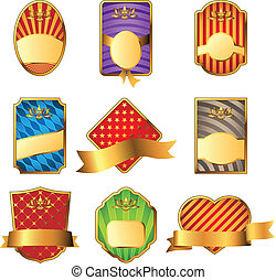 Vector set of decorative labels isolated on white background.