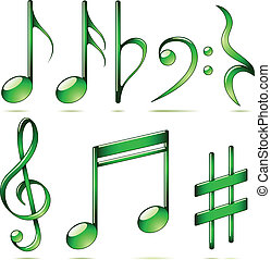 Vector set of music notes icons isolated on white...
