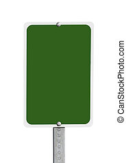 Blank Green Road Sign Isolated - Blank green road sign...