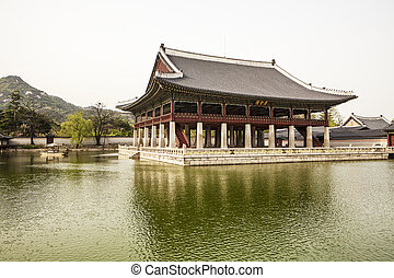 The Gyeonghoeru Pavilion in the Gyeongbokgung Palace complex...