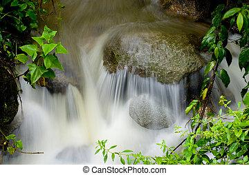 Water rushing over rock - Closeup of water rushing over rock...