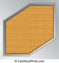 Wood background with metallic frame