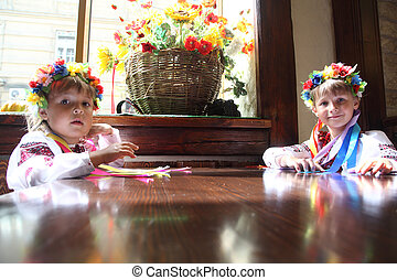 Ukrainian girls - little girl in the Ukrainian national...