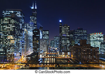 Chicago at night - Image of Chicago downtown and Chicago...