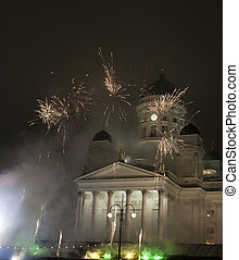 Fireworks new years eve - Fireworks at finland next to...