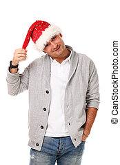 Young handsome man in christmas hat