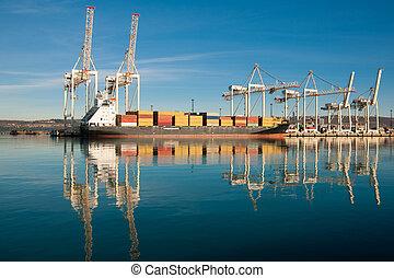 Cargo sea port. Sea cargo cranes. Sea. - Cargo sea port. Sea...