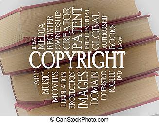 copyright, parola, nuvola, concetto