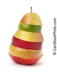 Mixed fruit slices isolated on white background