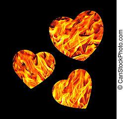 Burning hearts isolated