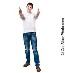 Pretty young man on white backgroun