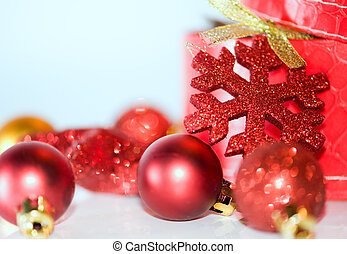 decoration - christmas red gift with decorations over white