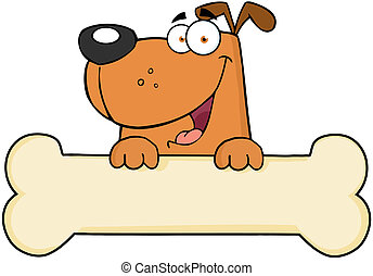 Cartoon Dog Over Bone Banner - Cartoon Happy Dog Over Bone...