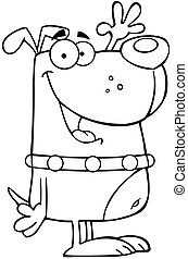Outlined Happy Dog Cartoon Character Waving For Greeting