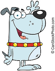 Happy Gray Dog Cartoon Character Waving For Greeting