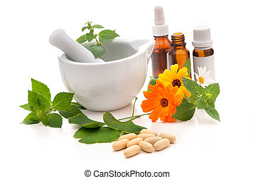 Alternative medicine - Healing herbs and amortar Alternative...