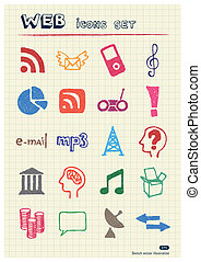 Internet and media icons set