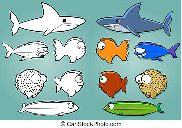 Fish Cartoon Set - Vector fish illustration collection