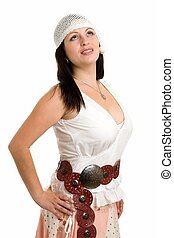 woman in dress of folksy cut on a white background