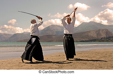 aikido in japon - two adultes are training in aikido on a...