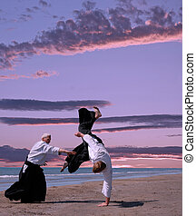 aikido - two adults are training in aikido on a beach