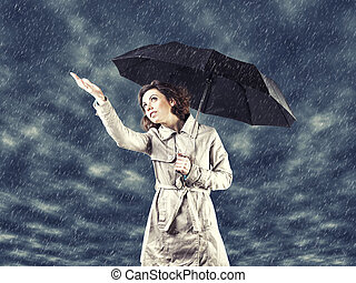 Girl with umbrella - Photo of the girl with umbrella in a...