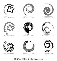 Abstract spiral icons. Vector art.