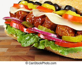 Meatball Sub - Meatball submarine sandwich with cheese,...
