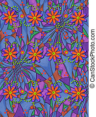 3D Daisies on Psychedelic Two - 3D daisies in orange and...