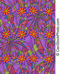 3D Daisies on Psychedelic - 3D daisies in orange and purple...