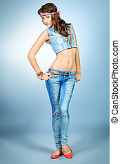 fashion jeans - Full length portrait of an attractive young...