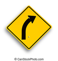Curve sign isolated on white, clipping path excludes shadow.