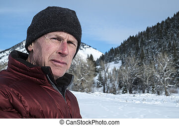 Mature adult man in winter - Mature adult man in snowy...