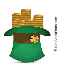 Leprechaun hat filled with gold coins