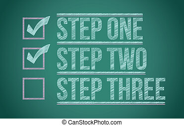 Steps checkmark blackboard background illustration design...