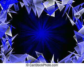 Blue shattered glass