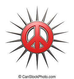 prickles peace - pacific symbol with thorns - 3d...