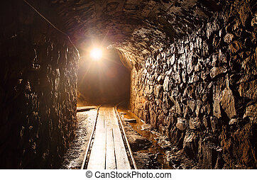 Mine tunnel with path - historical gold, silver, copper mine