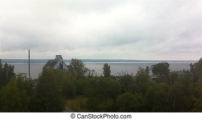Panoramic view of Onego lake in northern Russia, high angle...