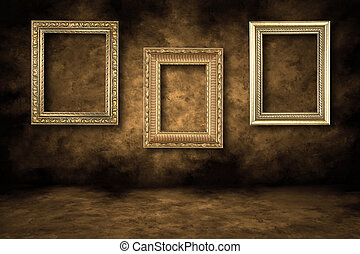 Guilded Empty Picture Frames Hanging - Three Guilded Picture...
