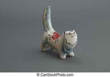 Figure porcelain cat.